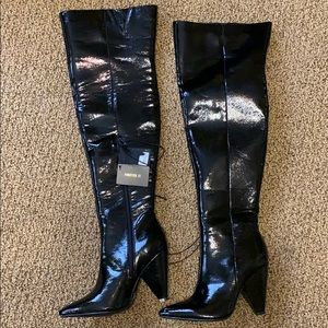 NEW Forever 21 over knee black pleather boots 7.5